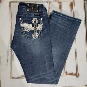 Miss Me Leather Cross Wings Bling 29/32 Denim Jean